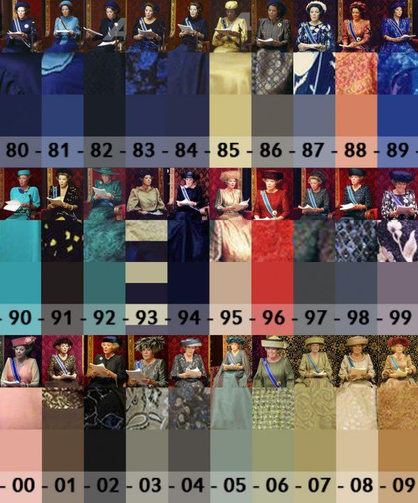 Jurken Koningin Beatrix Troonrede - kleuren