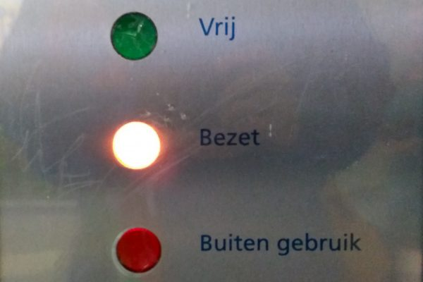 WC aanduiding bezet - Synchroonkijken foto opdracht oranje