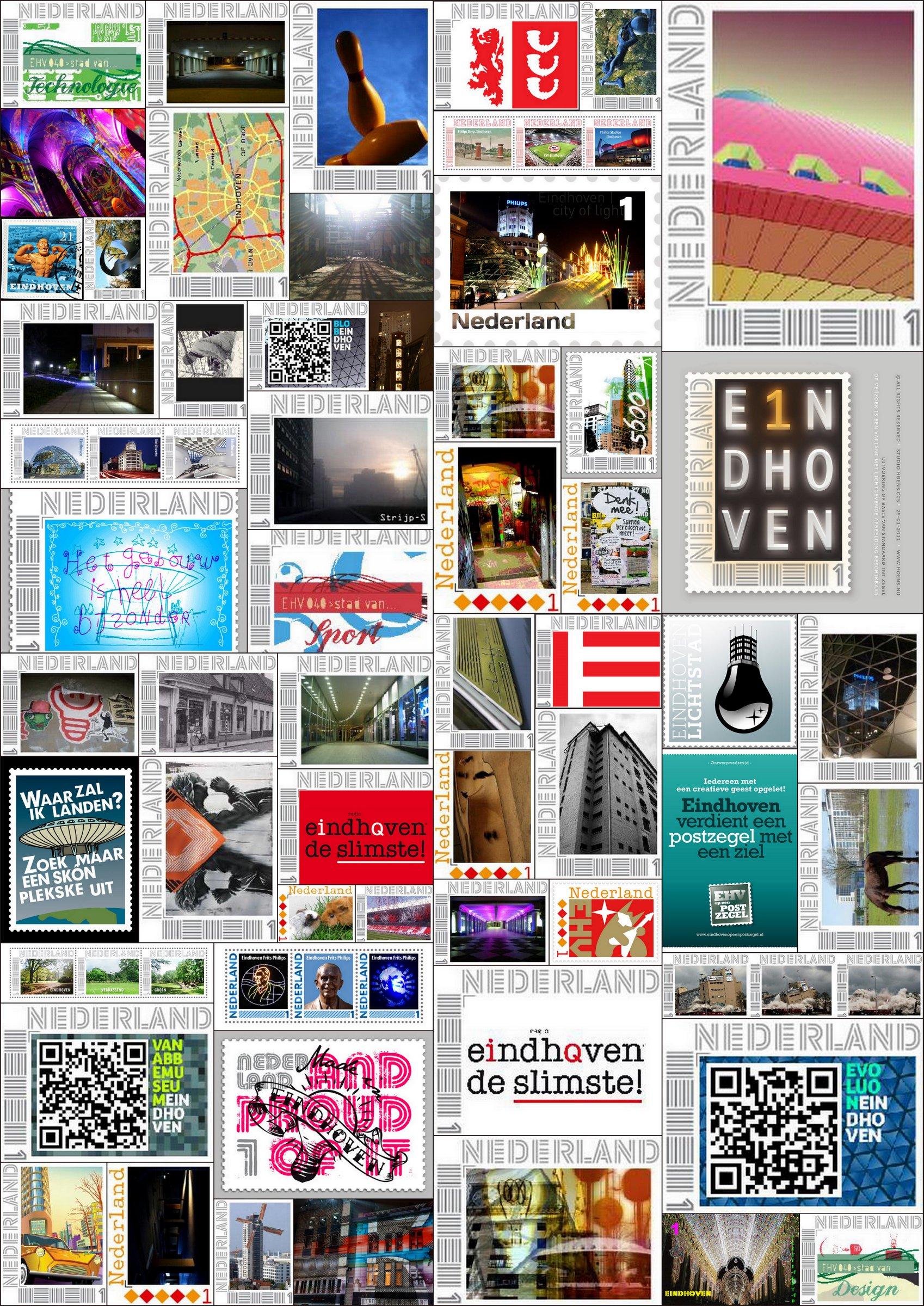 Collage inzendingen Eindhoven op een Postzegel.